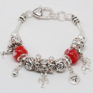 Aries _ Zodiac Sign Multi Bead Charm Bracelet